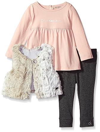 Baby Clothing Sets 6 Months Calvin Klein Baby 3 Piece Faux Fur Vest Set, Gray, 12 Months