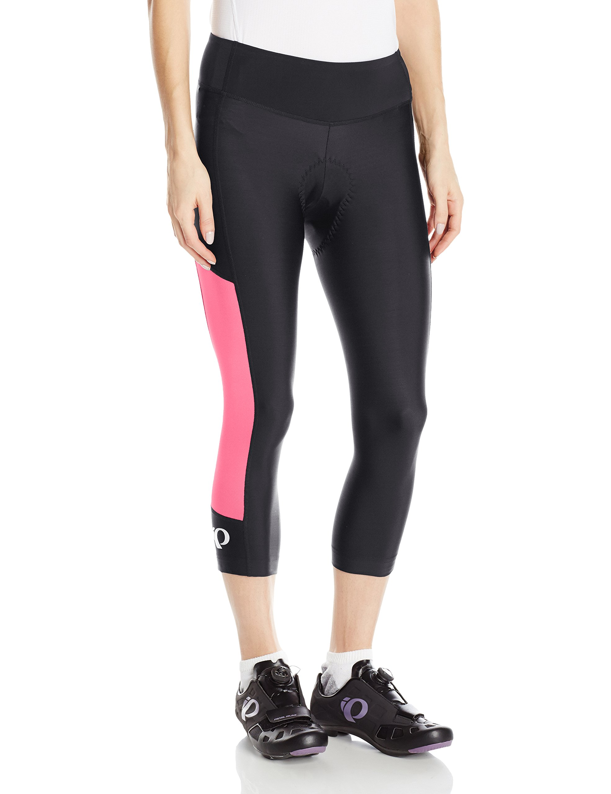 Pearl iZUMi Women's Escape Sugar CYC 3 Quarter Tights, Black/Screaming Pink, X-Small