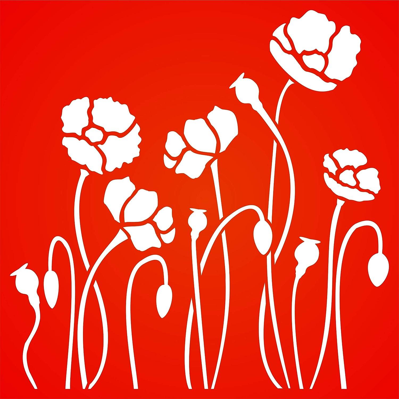 Pochoir Champ de coquelicots Pochoirs floraux S