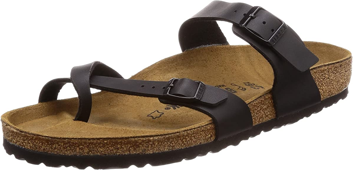 9ec76a39be532 Birkenstock Women's Mayari Adjustable Toe Loop Cork Footbed Sandal Black 35  ...