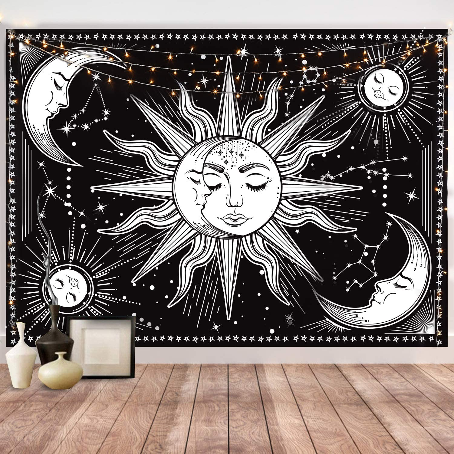 HOTMIR Wall Tapestry - Black Tapestry Wall Hanging as Wall Art and Home Decor for Bedroom, Living Room, Dorm Decor (54x72 Inches, 140x185 cm)