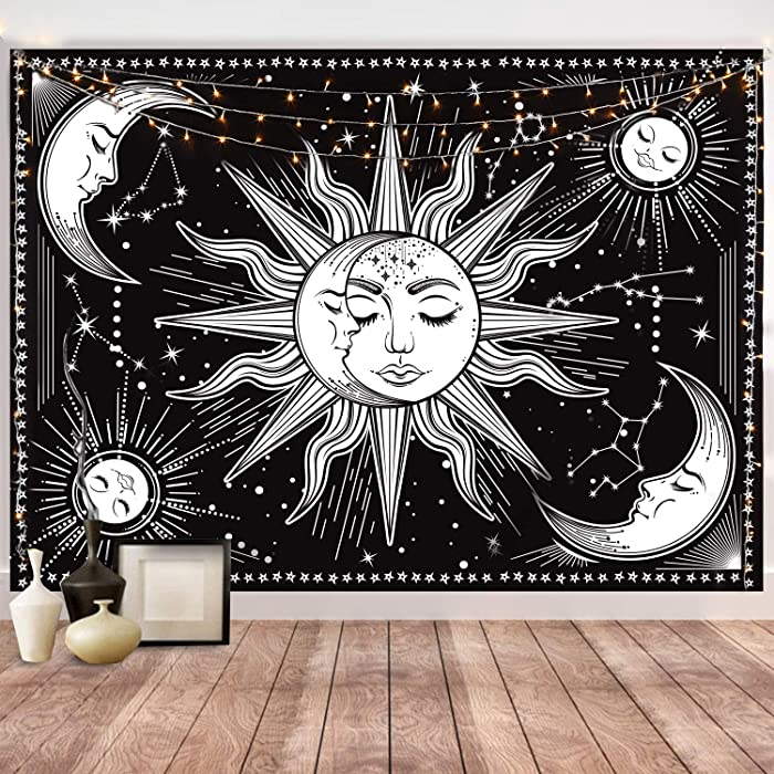 HOTMIR Wall Tapestry - Black Tapestry Wall Hanging as Wall Art and Home Decor for Bedroom, Living Room, Dorm Decor (59.1x82.7 Inches, 150x210 cm)