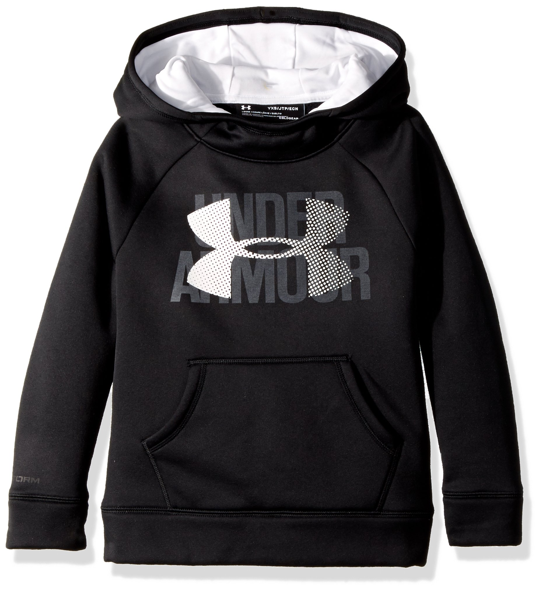 Under Armour Girls Big Logo Hoodie, Black /White, Youth X-Small by Under Armour