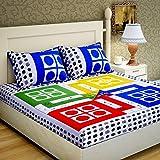 Home Elite Dynamic Print 104 TC Cotton Double Bedsheet with 2 Pillow Covers - Multicolour
