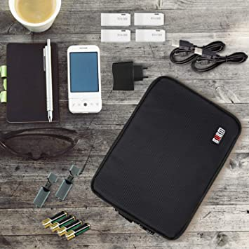 BUBM Double Layer Electronic Accessories Organizer, Travel Gadget Bag for Cables, USB Flash Drive, Plug and More, Perfect Size Fits for iPad Mini (Medium, Black)