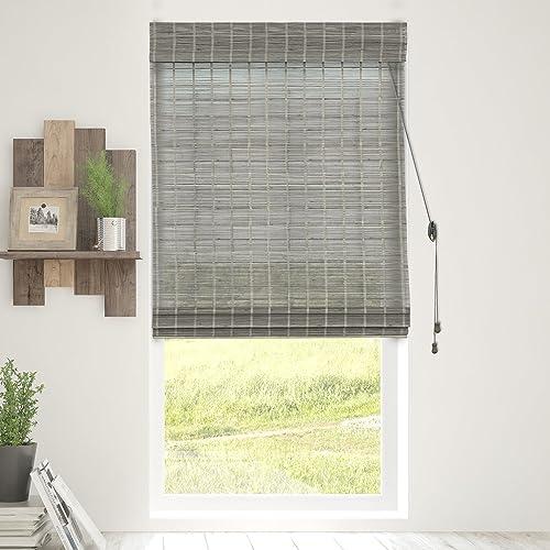 Chicology Bamboo Roman Shades Wood Window Blind, Bamboo, Privacy – Koala, 32 W X 64 H