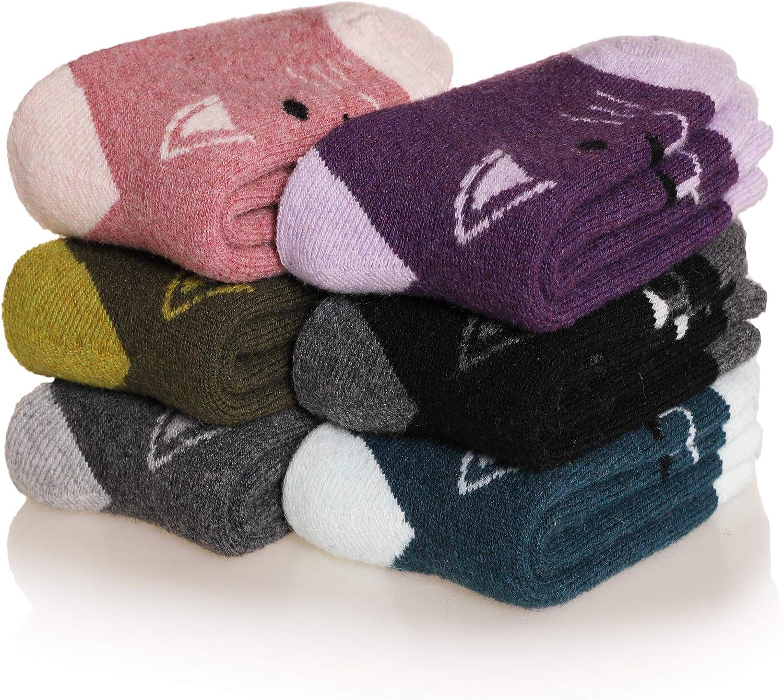 Eocom 6 Pairs Childrens Winter Warm Wool Animal Crew Socks Kids Boys Girls Socks