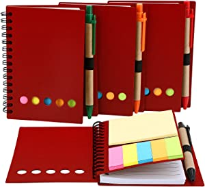 TOODOO 4 Packs Spiral Notebook Lined Notepad with Pen in Holder and Sticky Notes, Page Marker Colored Index Tabs Flags (Red Cover)