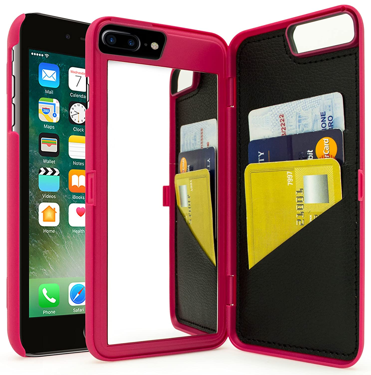 Amazon Com Iphone 7 Plus Case Bastex Hot Pink Hidden Back Wallet