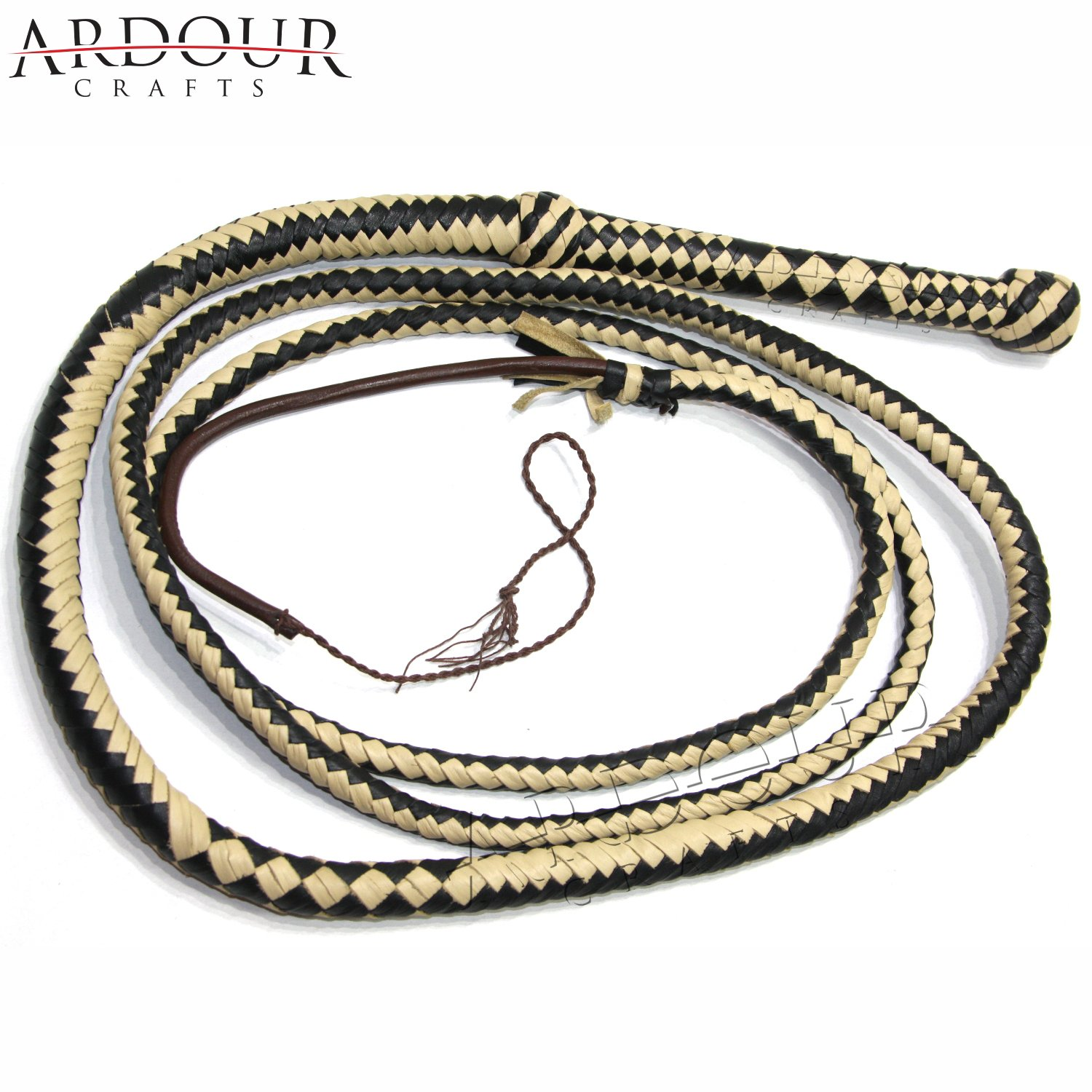 Ardour Crafts Genuine Real Leather 08 Feet Long 12 Plait Weaving Bull Whip Black & Off White