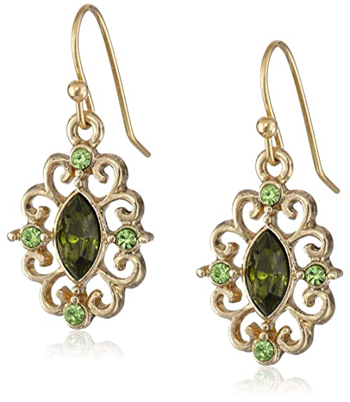 Vintage Style Jewelry, Retro Jewelry 1928 Jewelry Gold-Tone Crystal Navette Drop Earrings $12.46 AT vintagedancer.com