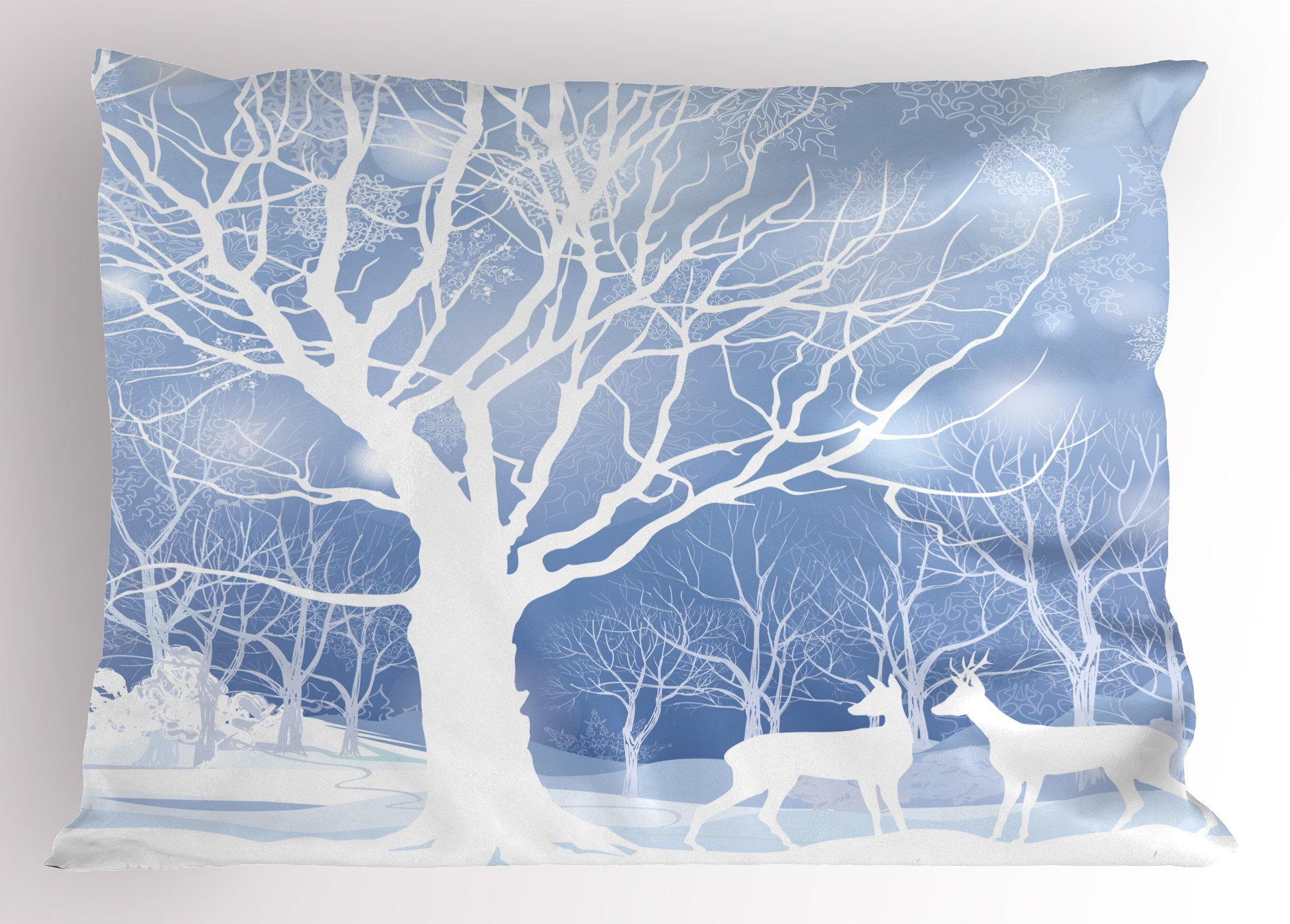 Ambesonne Winter Pillow Sham, Abstract Winter Imagery with Snowy Weather Deer and Other Animals Seasonal Theme, Decorative Standard King Size Printed Pillowcase, 36 X 20 inches,