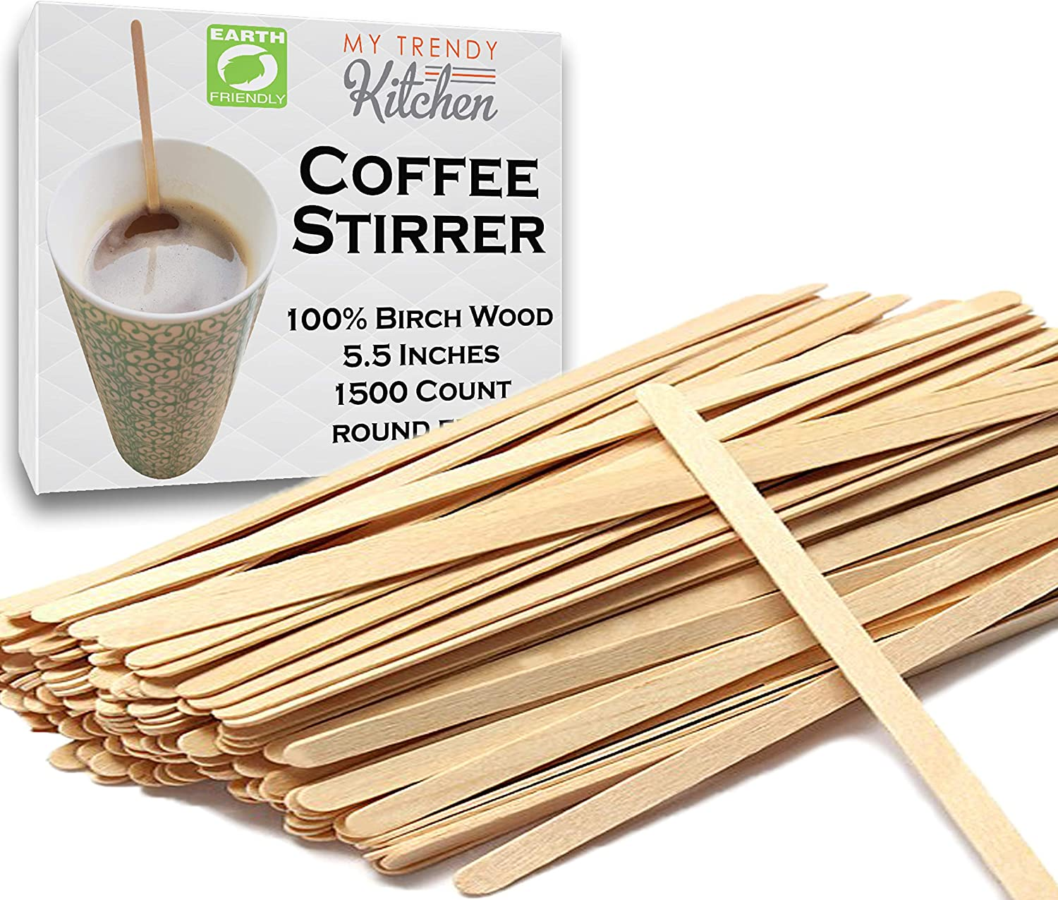 Wooden Coffee Stir Sticks (6000 Count) - Eco-Friendly, Biodegradable Splinter-Free Birch Wood - Disposable Drink Stirrers for Beverage, Tea, and Crafts with Round Ends