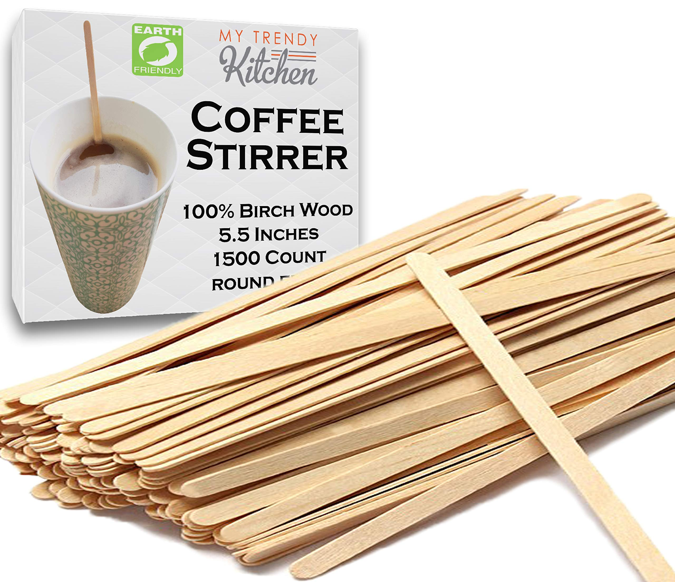 Wooden Coffee Stir Sticks 1500 Count - Eco-Friendly Splinter-Free Birch Wood - Disposable Coffee, Tea, Beverage Mixing Stirrers with Round Ends by My Trendy Kitchen (Image #1)