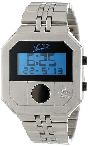 Original Penguin OP3034SL - Reloj digital de cuarzo para hombre, correa de acero inoxidable color