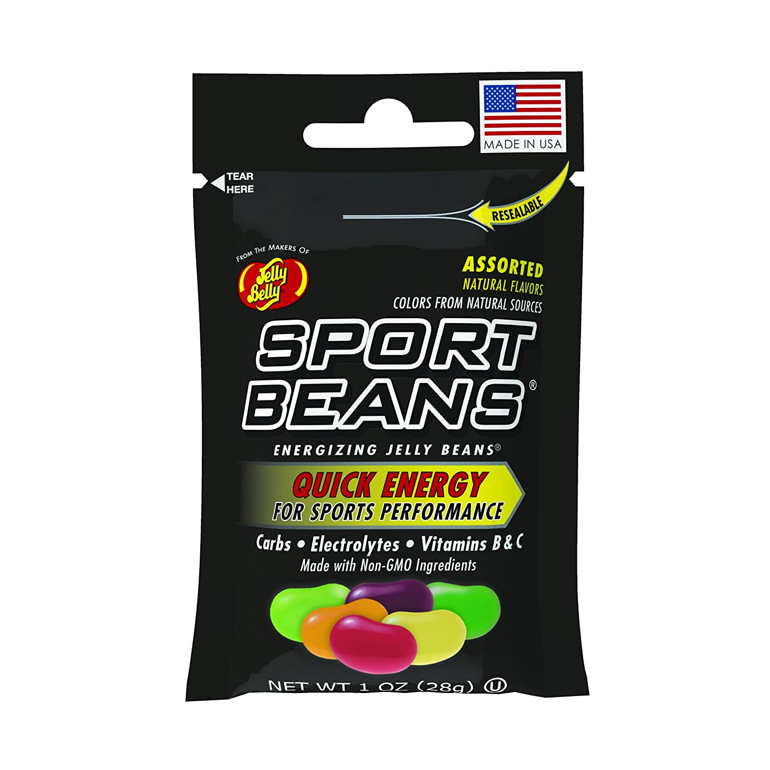 Jelly Belly Sport Beans - Energizing Jelly Beans - Assorted Flavors, 24 x 1 Ounce Bags
