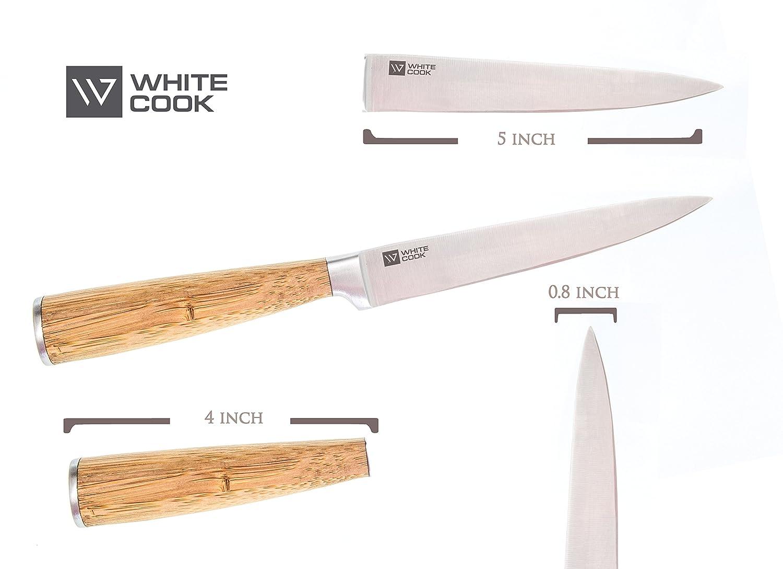 Amazon.com: Kitchen Utility Knife 5-inch - Wood Bamboo Handle ...