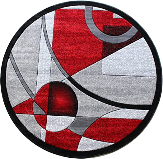 Masada Rugs, Sophia Collection Hand Carved Area Rug Modern Contemporary Red Grey White Black 5 Feet 3 Inch X 5 Feet 3 Inch Round