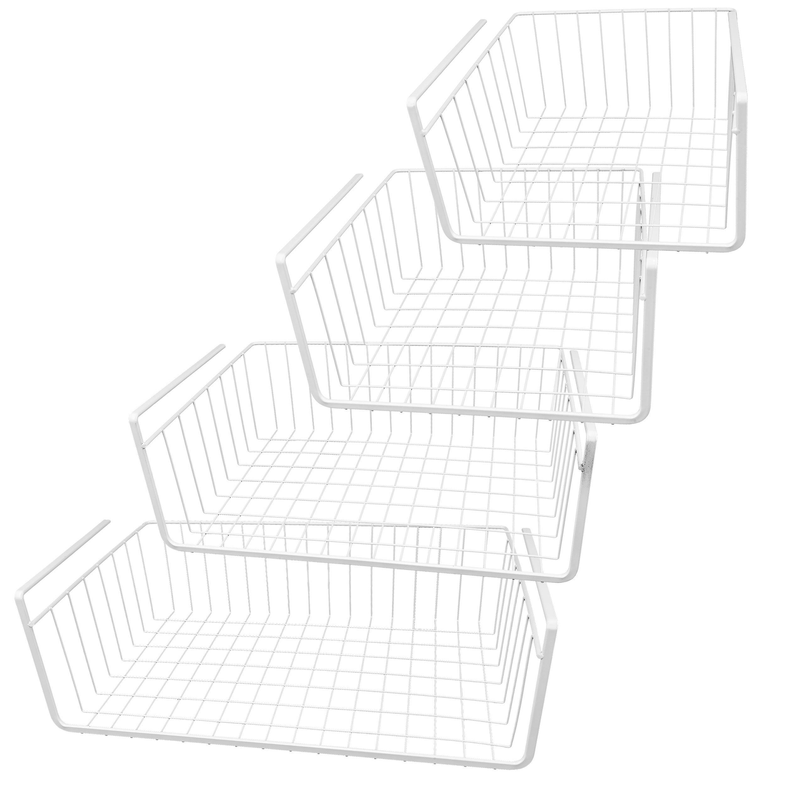 Southern Homewares White Wire Under Shelf Storage Basket 4-Piece Set by Southern Homewares