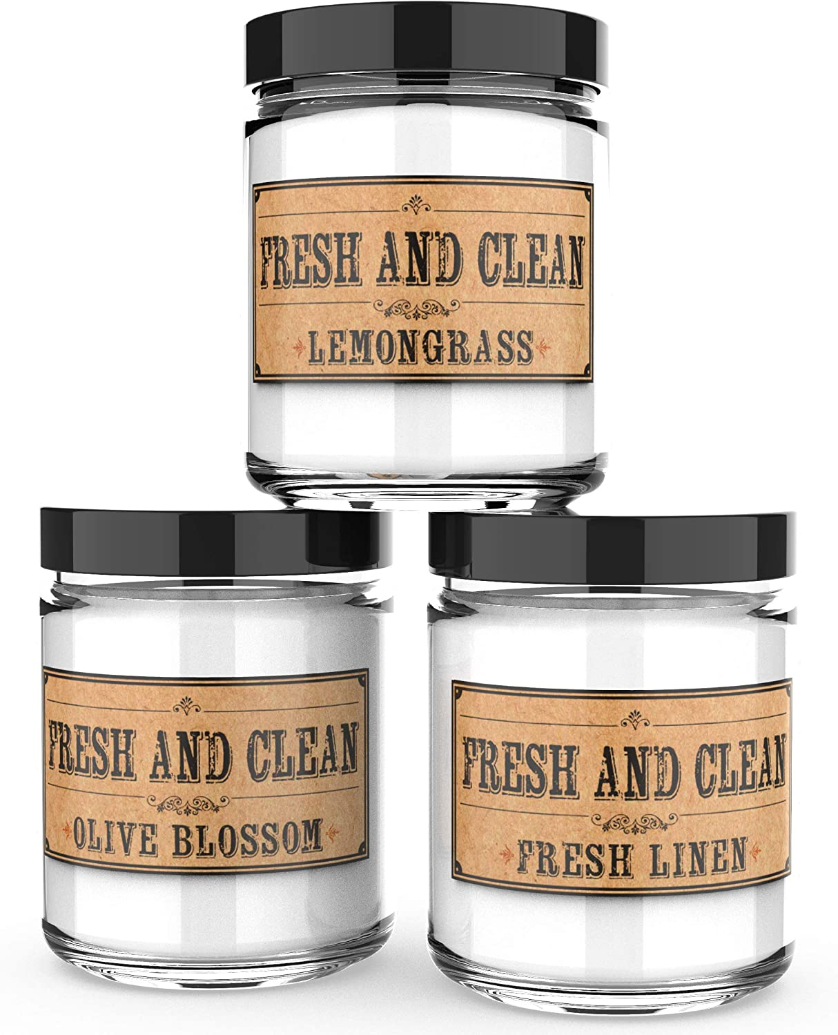 Scented Candles - Fresh & Clean- Decorative Aromatherapy - Handmade in The USA with Only The Best Fragrance Oils - 3 x 4-Ounce Soy Candles