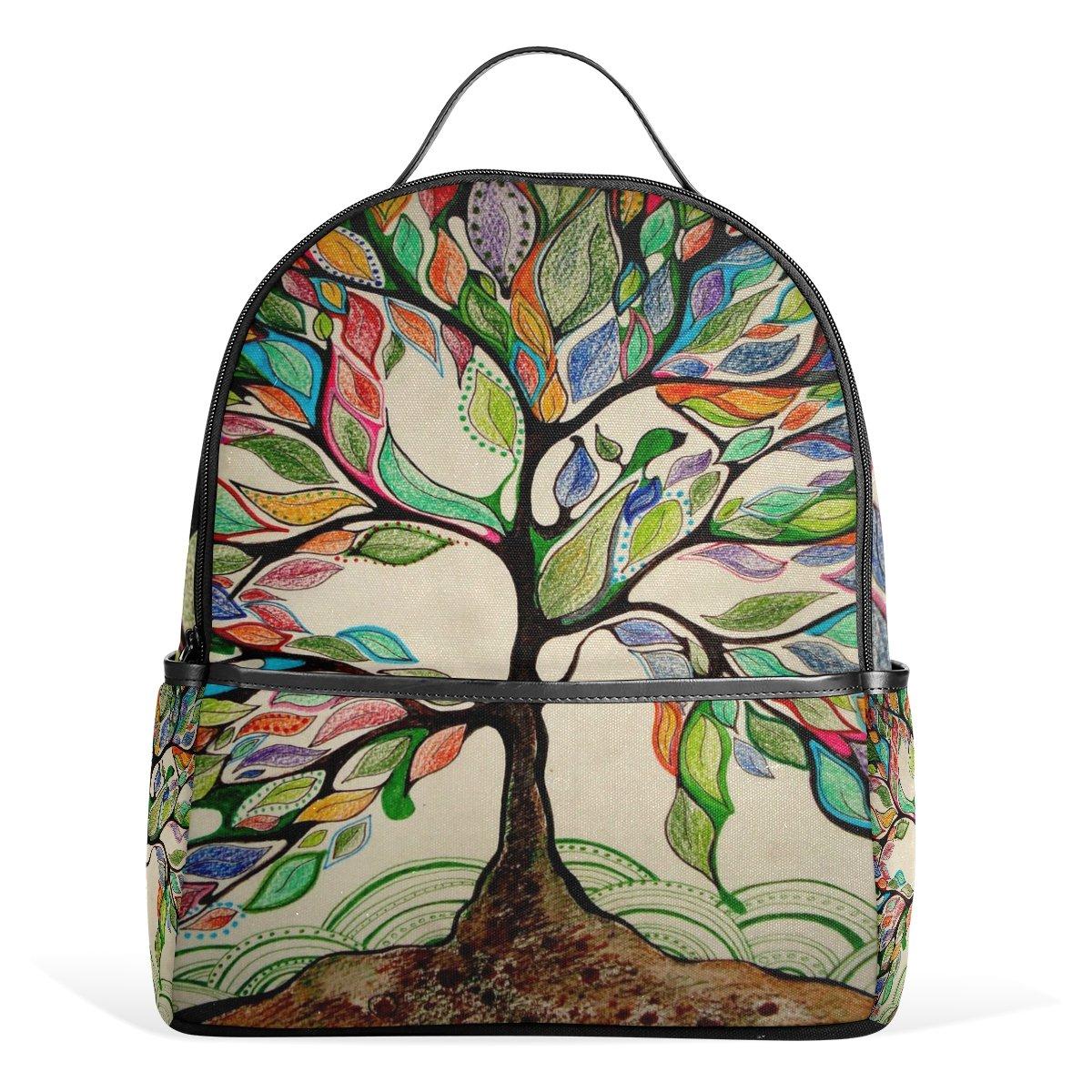 Amazon.com: ALAZA Rucksack Canvas School Satchel Casual Daypack Backpack,Art Tree of Life: Computers & Accessories