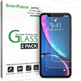 """iPhone XR Screen Protector Glass (2-Pack), amFilm iPhone XR 6.1 Tempered Glass Screen Protector with Easy Installation Tray for Apple iPhone XR (6.1"""") (2018)"""
