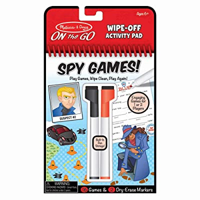 Melissa & Doug On The Go Spy Games Wipe-Off Activity Pad Reusable Travel Toy with 2 Dry-Erase Markers, Great Gift for Girls and Boys - Best for 6, 7, 8 Year Olds and Up: Toys & Games