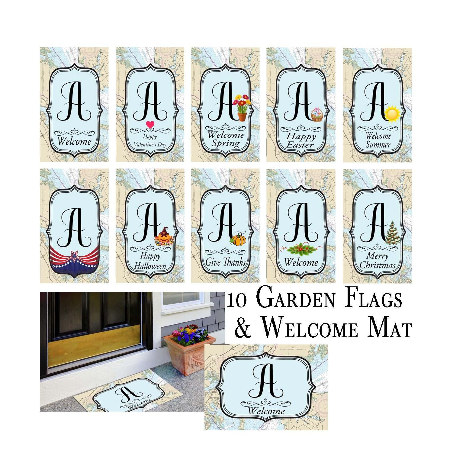 Nautical 10 Holiday Garden Flag Bundle and Welcome Mat Letter: A