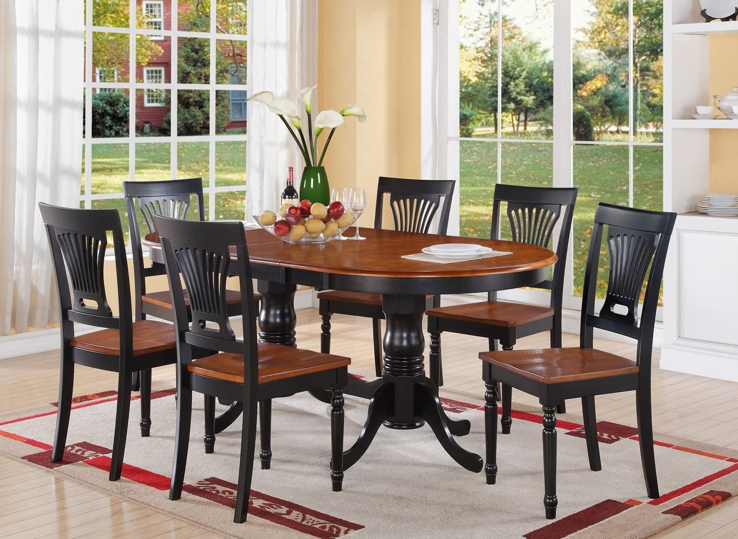 Amazon Com 7 Pc Dining Room Set Dining Table And 6 Kitchen Dining Chairs Furniture Decor