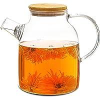 Szklany dzbanek do herbaty z bambusową pokrywką 1,5 litra – filtr na wylocie – nadaje się do mycia w zmywarce – szklany…