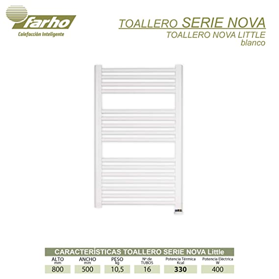 farho - Radiador Toallero Eléctrico Blanco Nova Little, con 400W (Medidas : 800 x 500 mm) Toalleros Eléctricos Digital Programable - 20 AÑOS DE Garantia: ...