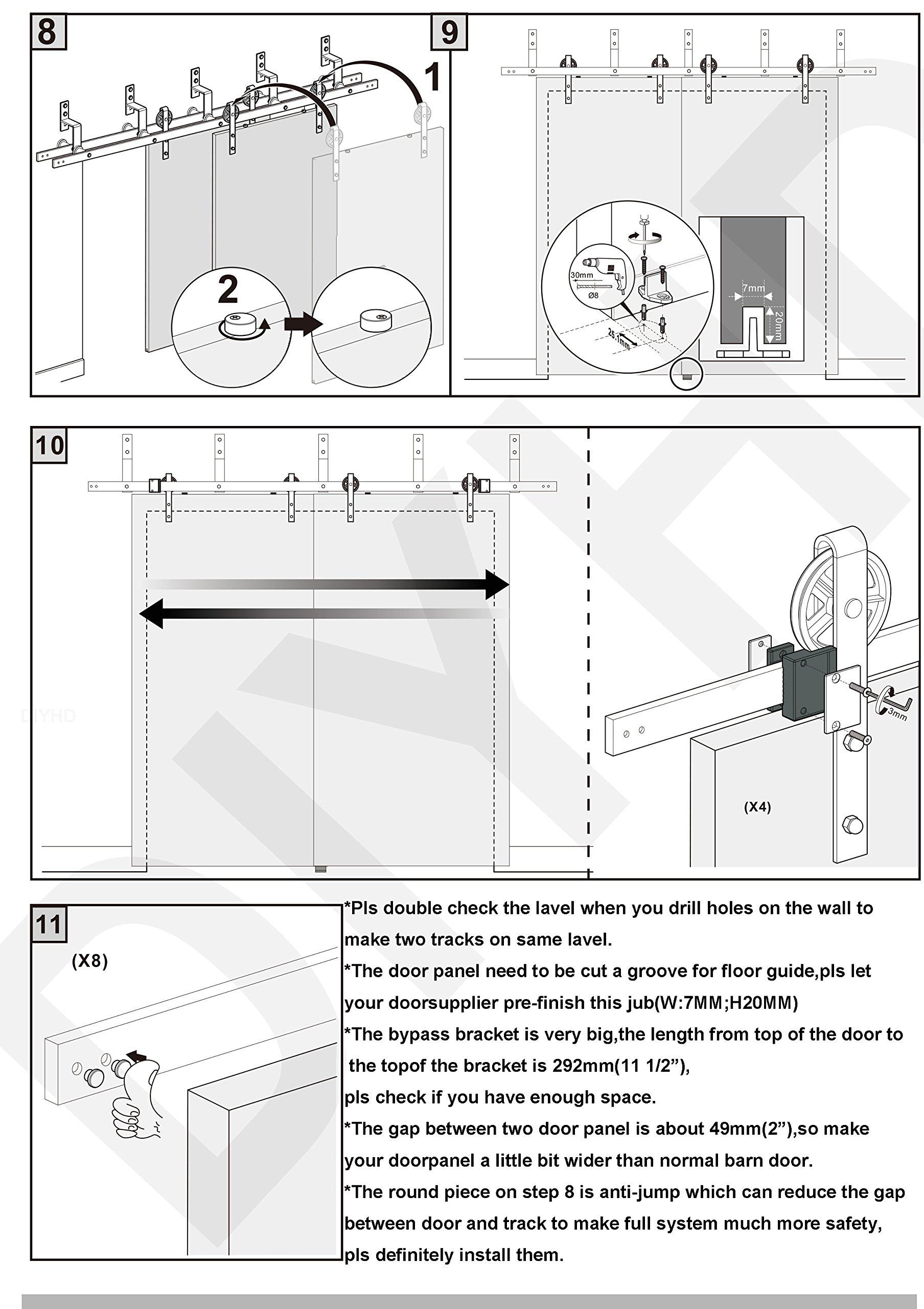 DIYHD 8ft Industrial Spoke Wheel Bypass Barn Door Track Stablest Bypass Sliding Door Hardware by DIYHD