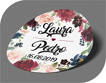 Fidanzamento Etichette adesive per invito Compleanno Natale Festa Battesimo CrisPhy Vintage Matrimonio Adesivi Personalizzati per Matrimonio con Nome e Data