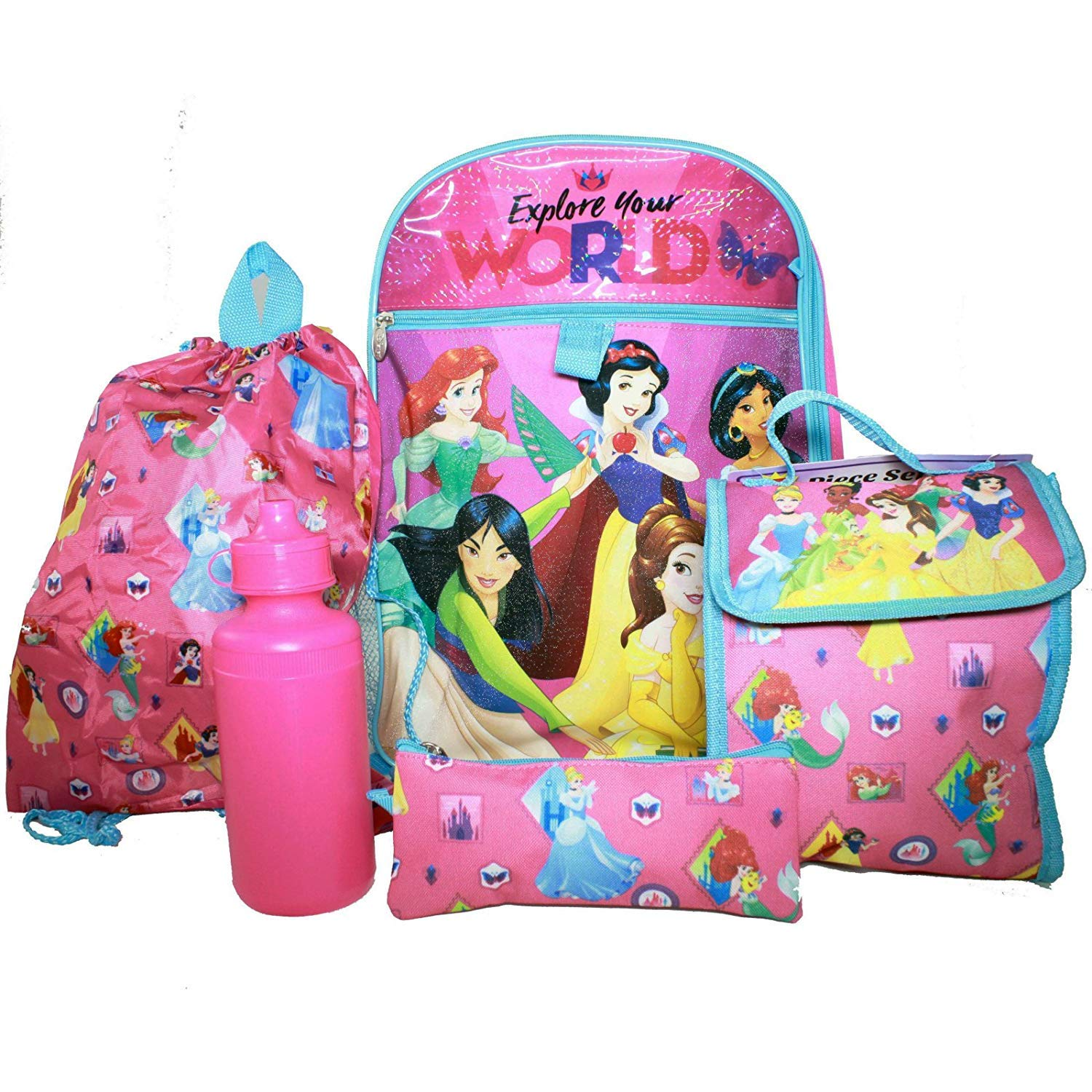 0a134c13fc4 Amazon.com  KidPlay Products Disney Princess Backpack Set Utility Pouch Lunch  Bag Water Bottle  Home   Kitchen