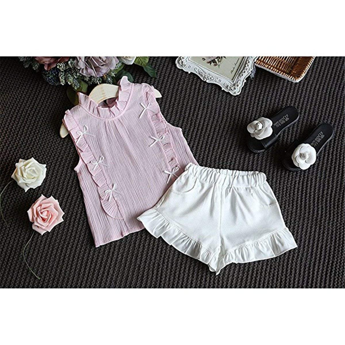 Maylife 2 Pcs Baby Kids Girls Flounce Sleeveless Blouse Shorts Summer Beach Outfits Set