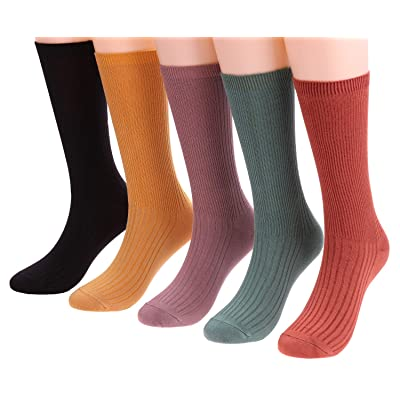 5 Pairs Womens Lightweight Knit Cotton Casual Crew Socks Solid Color, Size 5-10 W73 (mixed color) at Women's Clothing store
