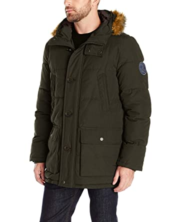 41dc2374cd9f6 Tommy Hilfiger Men s Arctic Cloth Full Length Quilted Snorkel with  Removable Faux Fur Trimmed Hood and