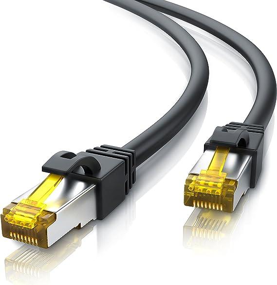 Primewire 3m Cable de Red Gigabit Ethernet Cat 7-10000 Mbit s - Cable de Conexión - Cable Cat 7 en Bruto con apantallamiento S FTP PIMF y Conector ...