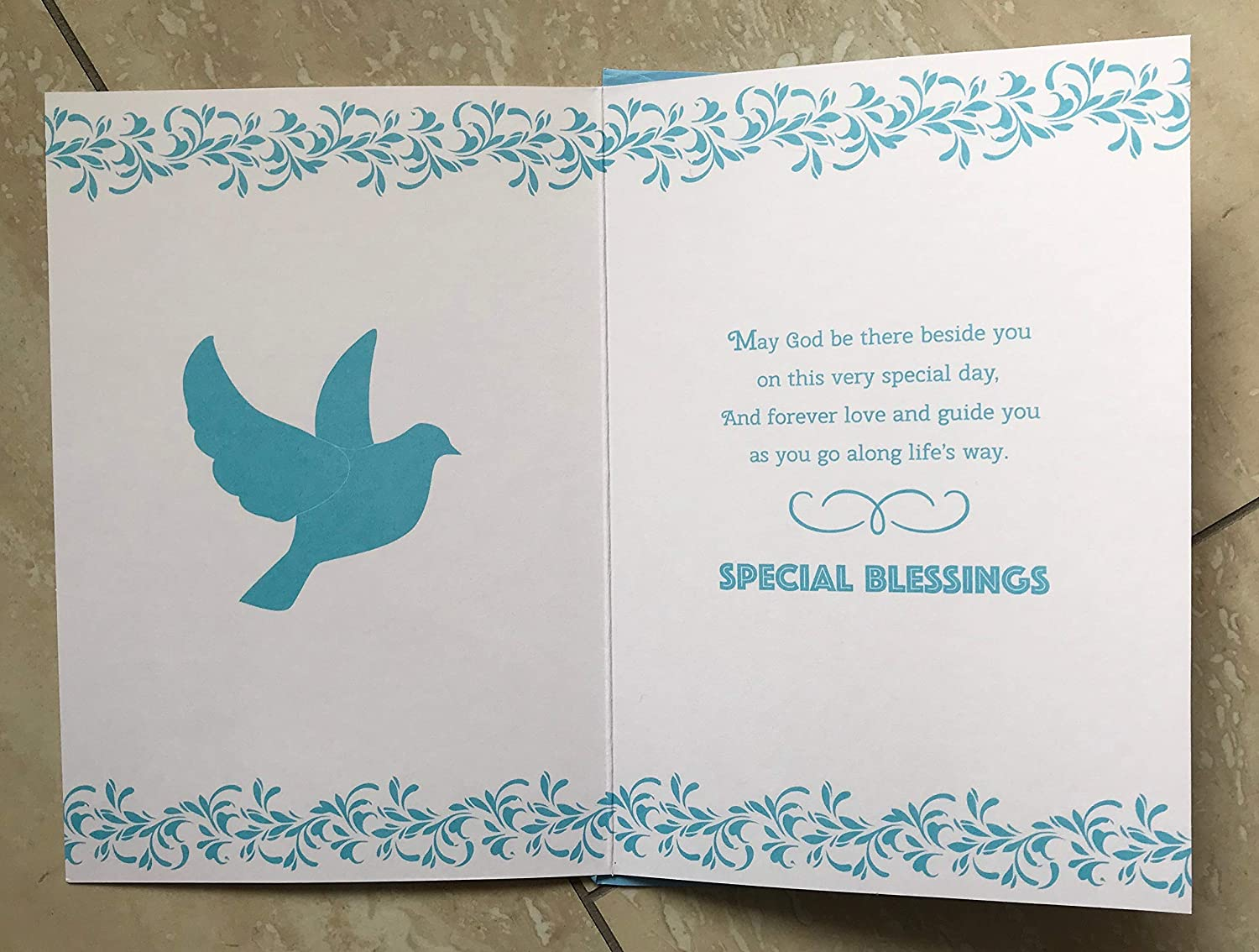 Confirmation Card Embossed with Dove and Sentiment Verse Design Special Wishes