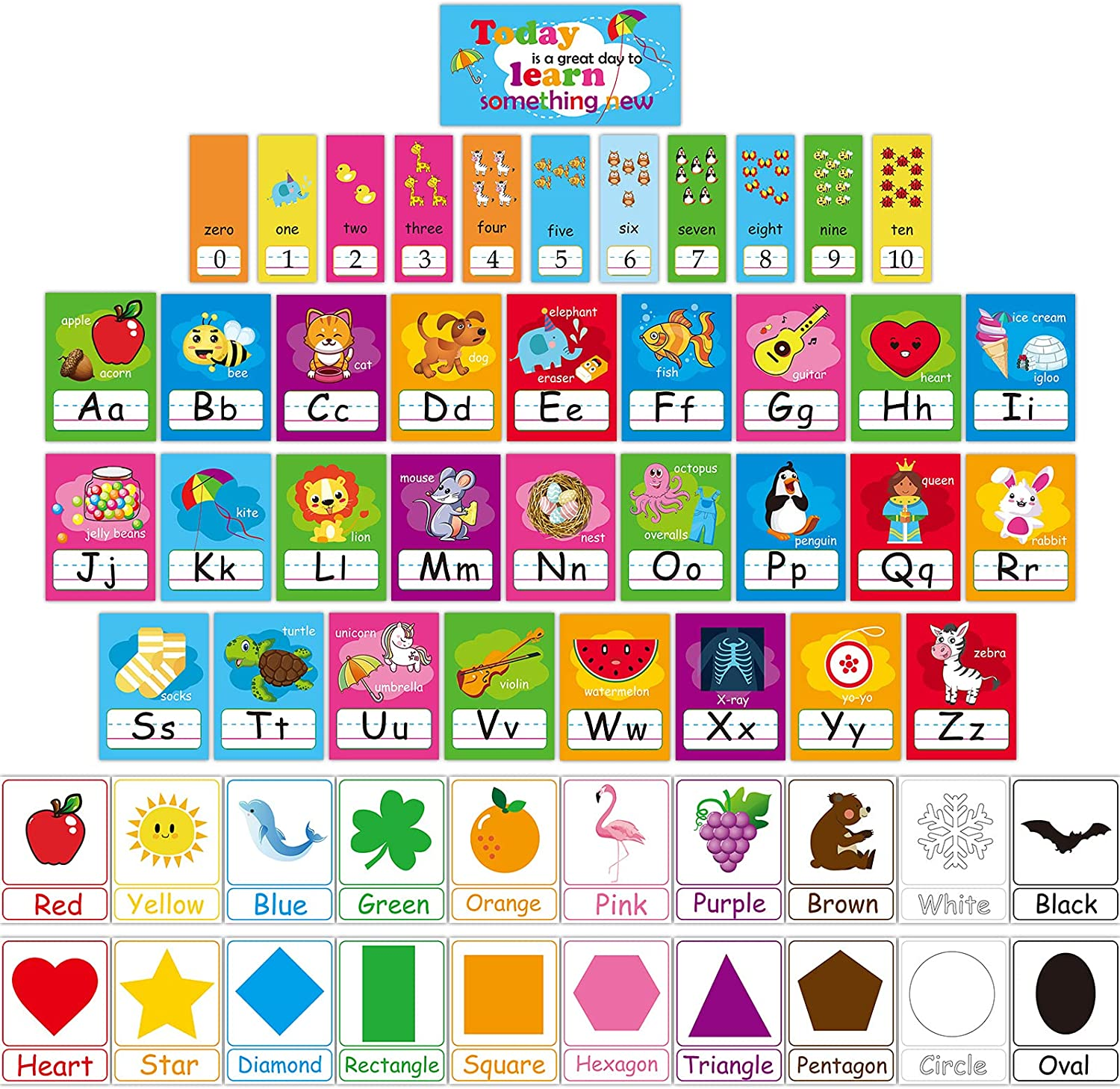 57 Pieces Educational Preschool Cards Kids Early Learning Poster Alphabet Number Colors and Shapes Bulletin Board Decoration Kindergarten Classroom Learning Card with Glue Point Dot for Kids