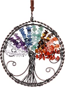 Top Plaza Tree of Life 7 Chakra Gemstones Reiki Healing Crystal Hanging Ornament Home Indoor Decoration Wall Decor for Good Luck, Yoga Meditation, Protection