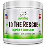 Hip and Joint Supplement for Dogs with Organic Hemp Oil, Glucosamine, Chondroitin, and Turmeric + We donate to a rescue for every bottle sold! + Joint Support for Dogs + 120 soft chews