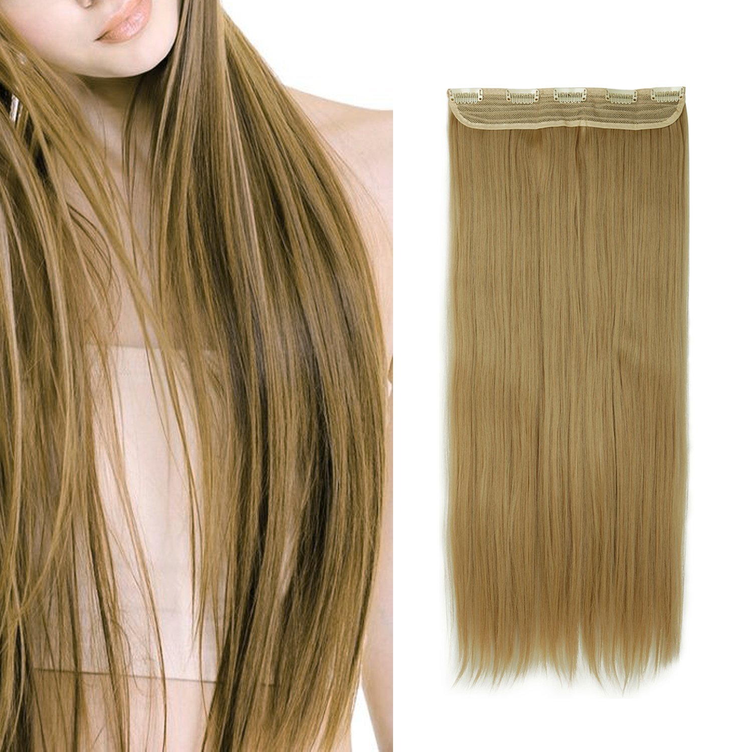 FUT 160g 30 One Piece 5 Clips in Hair Extension Straight Hairpiece Ash Blonde