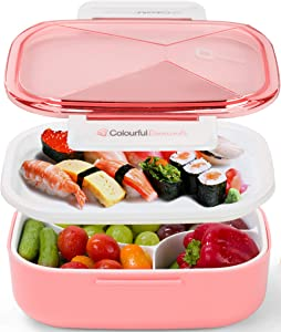 Monka Bento Lunch Box For Adults And Kids, 2 Tire Food Container Leak Proof For Men & Women Microwave And Dishwasher Safe 4 Compartments, Cutlery Included (Pink Color)