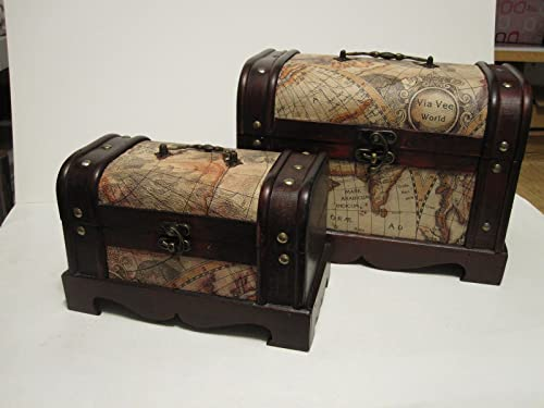 Antique Looking Old World Map Wooden Trunk Box Set of 2