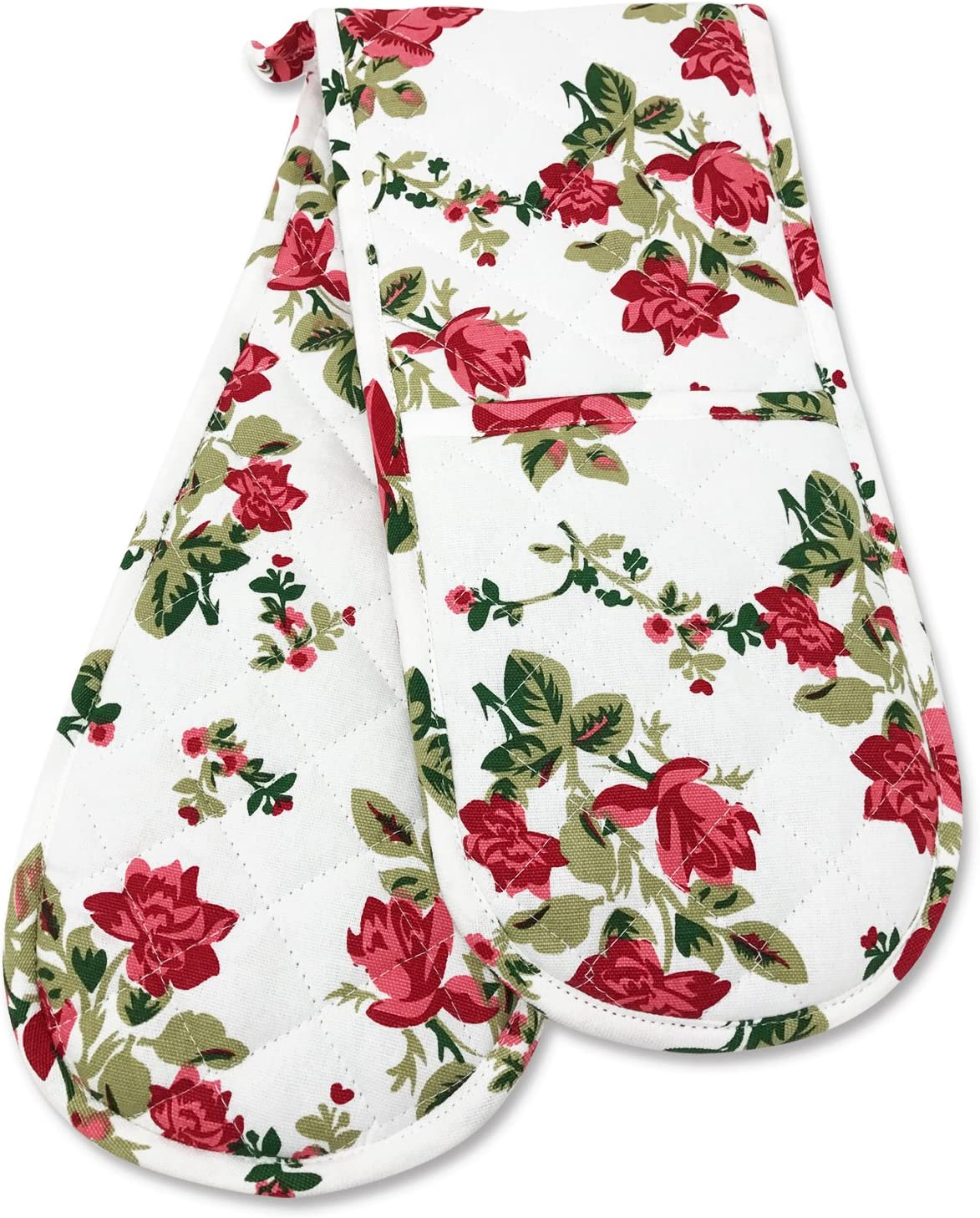 Double Oven Gloves, Smart Home, Pretty Red Roses Floral, 1 Piece, Long , Mittens, Heat Resistant, 100% Cotton, Extra Thick, Quilted