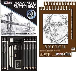"U.S. Art Supply 20 Piece Professional Hi-Quality Artist Sketch Set in Hard Storage Case - Sketch & Charcoal Pencils, Pastel, Stumps, Eraser, Sharpeners - Bonus (Pack of 2) -5.5"" x 8.5"" Sketch Pads"