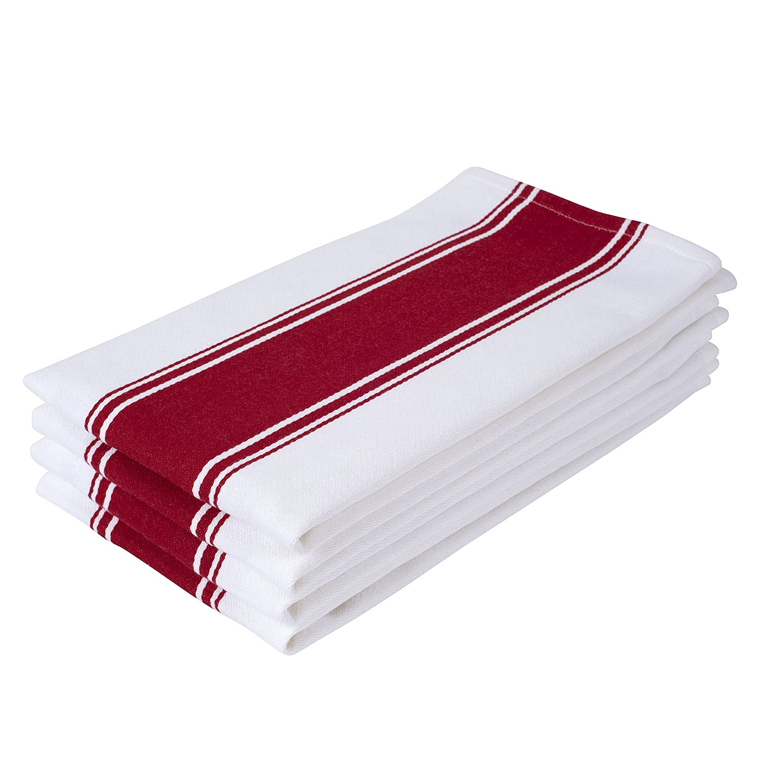 Vintage White & Red Striped Dish Towels - Set of 4