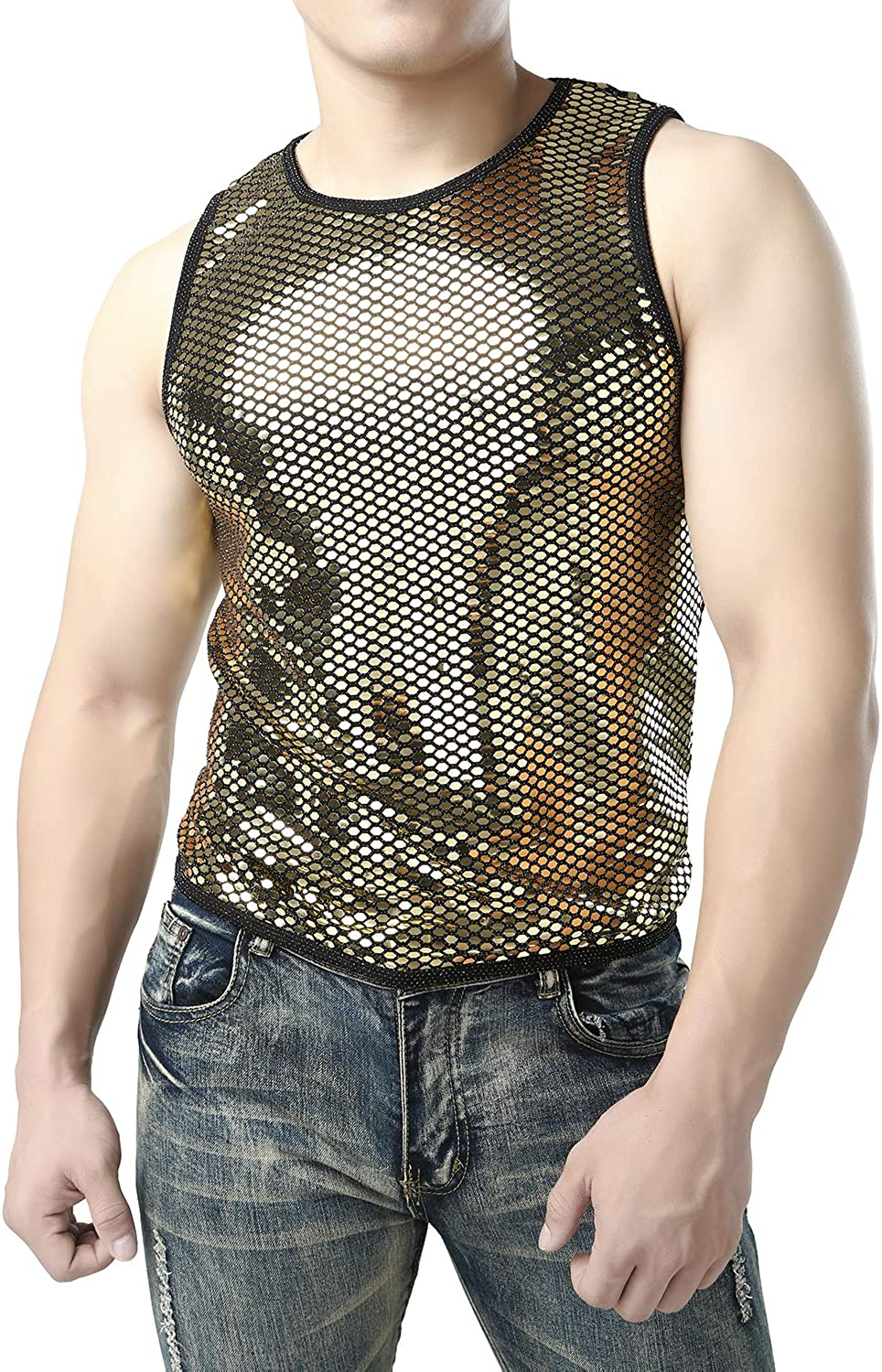 JOGAL Mens Metallic Silver Sequins Fitted Sleeveless Muscle Tank Tops