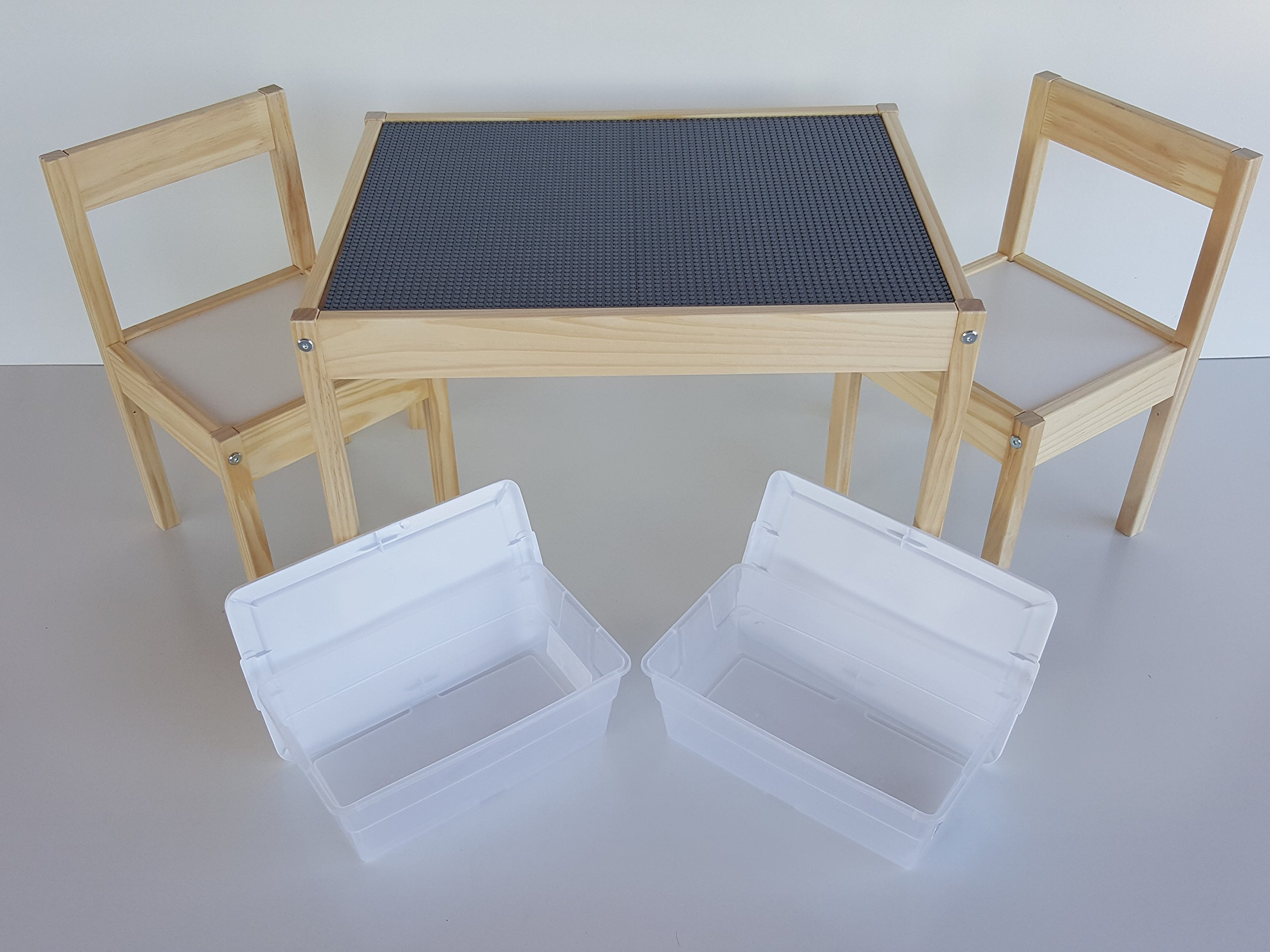 Deluxe Large Grey Lego Table - Includes chairs and 2 storage bins by SCS Custom Woodworks